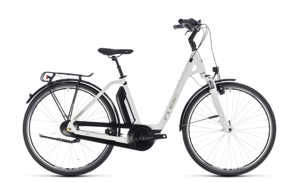 Cube Town Hybrid ONE 400 white´n´silver 2018 Größe: Easy Entry 42 cm - Bikesport Scheid - Ihr Fahrradfachgeschäft im Saarland